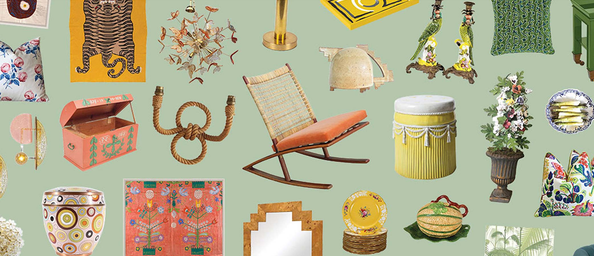Collage of various furnishings upon greenish background