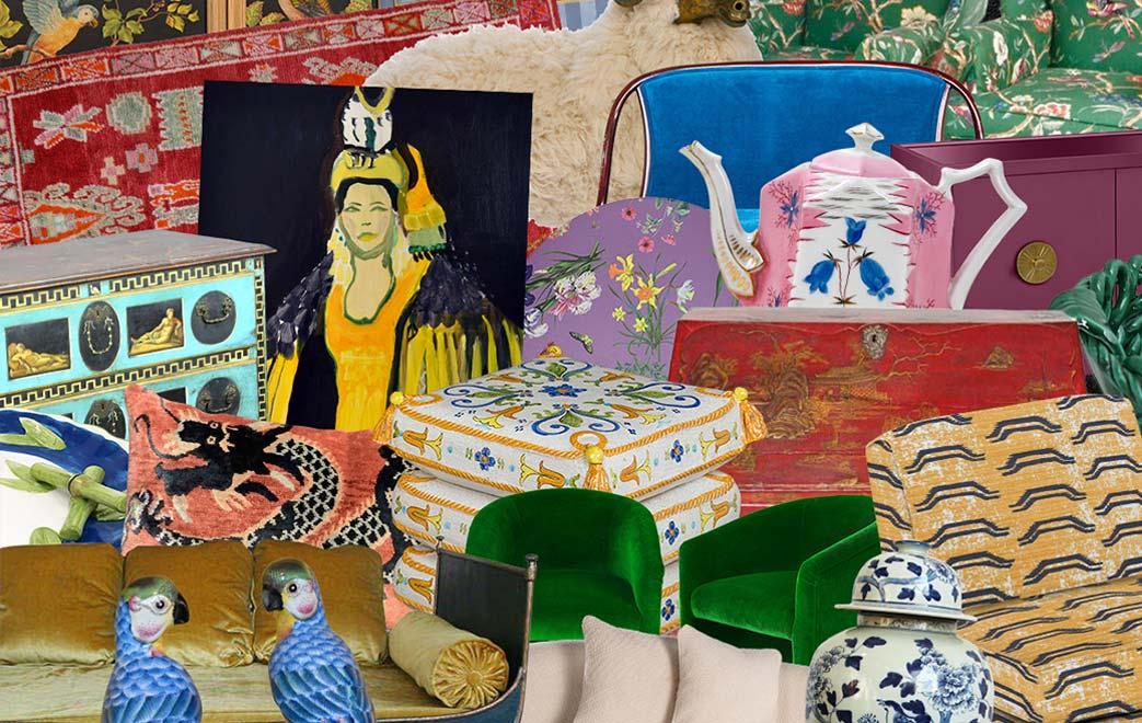 Jumble of various artistic furniture pieces