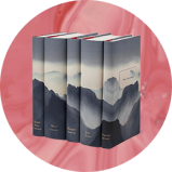 Five adjoined books creating a mountainous landscape overlayed on pink background