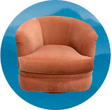 Plush peach chair overlayed on blue background