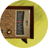 Old timey radio overlayed on lime green background