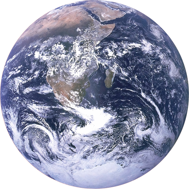 Satellite view of Planet Earth centered above southeast Africa