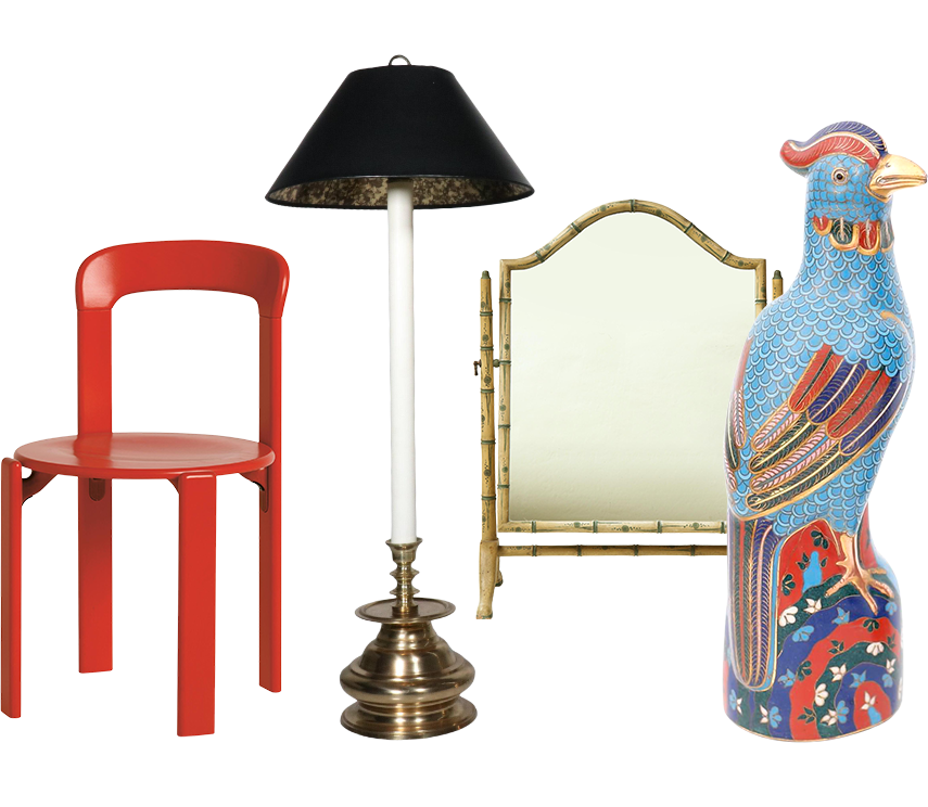 A red chair, lamp, mirror and bird sculpture
