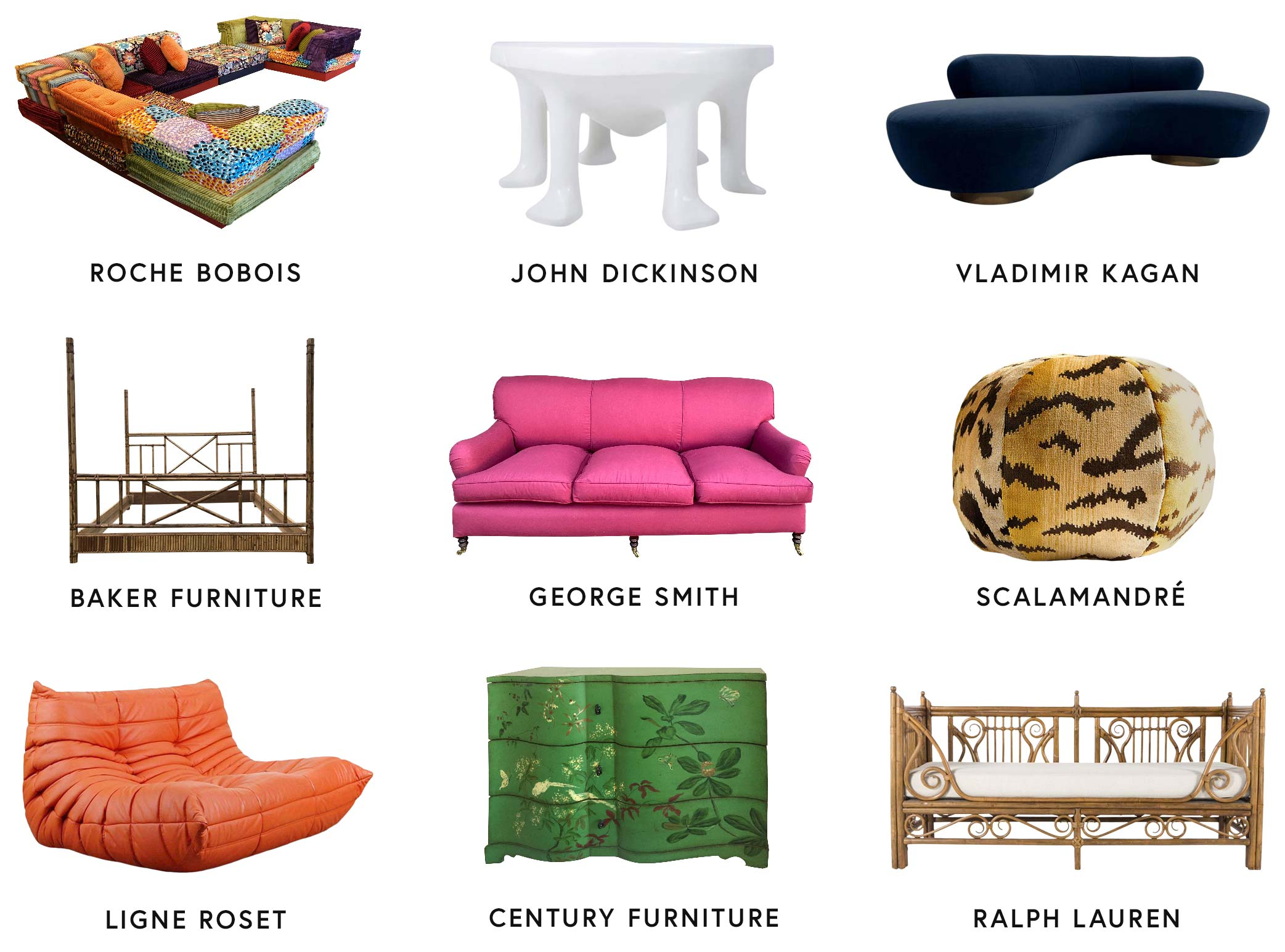 Three by three grid featuring furniture and corresponding brand names