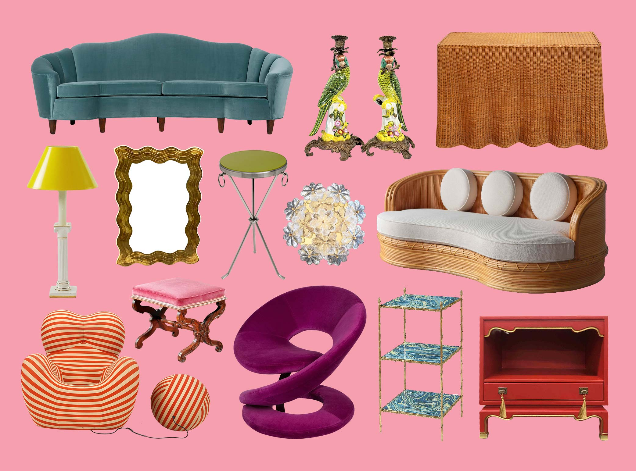 Three rows of most loved furniture items on pink background