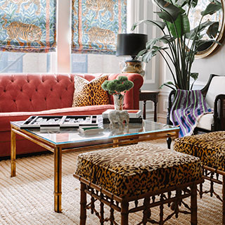 Living room decorated with leopard print cushions